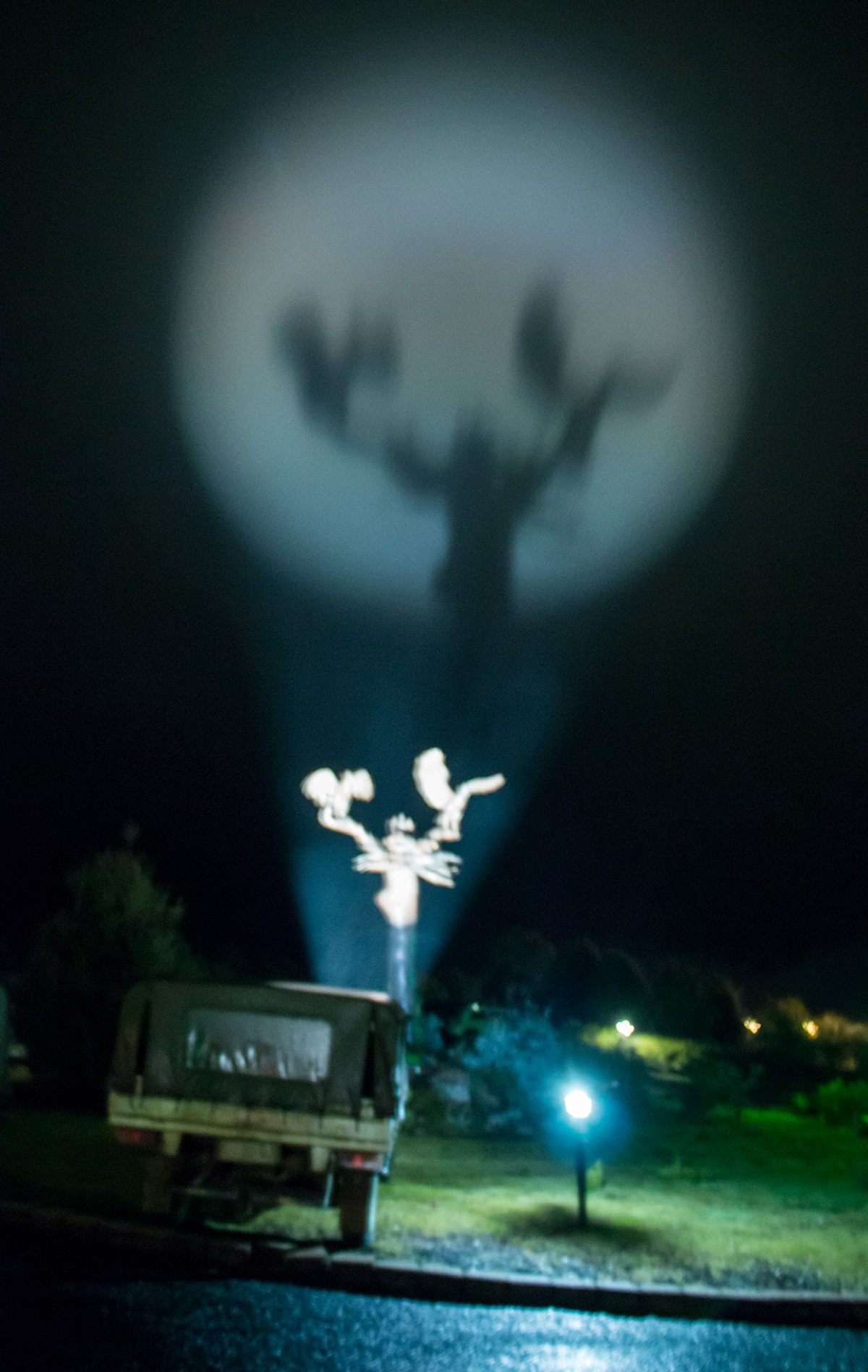 A cloud passed by turning the eagle statue into a batman signal.